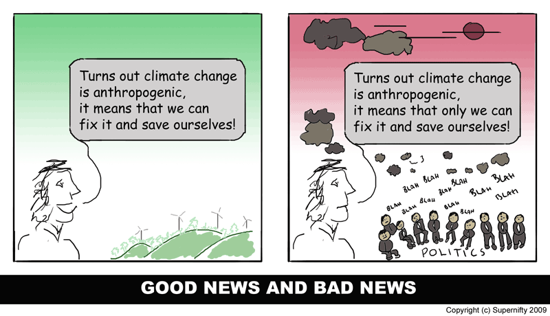 Supernifty Comic #2 - Good news and bad news for climate change